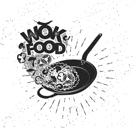Wok pan. Asian fast food. Hand drawn typography poster.Vector Typography. Stock Vector - 91019149