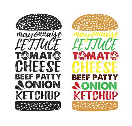 Poster lettering Burger. Hand drawn typography poster. Inspirational typography. Create your own burger