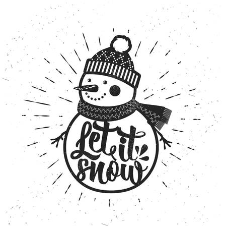 Let it Snow. Christmas retro poster with Snowman. This illustration can be used as a greeting card, poster or print.Hand drawn typography poster. Inspirational vector typography. Иллюстрация
