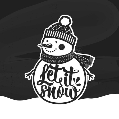 Let it Snow. Christmas retro poster with Snowman. This illustration can be used as a greeting card, poster or print.Hand drawn typography poster. Inspirational vector typography. Çizim