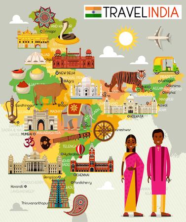 Mapa podróży Indii z ilustracją miejsc do zwiedzania. Ilustracje wektorowe