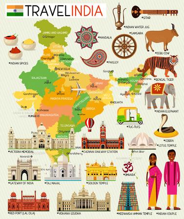 Mappa di viaggio dell'India con l'illustrazione dei posti turistici. Archivio Fotografico - 92843793