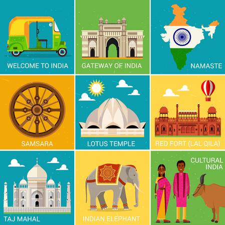 Travel Places in India. Vector Illustration.