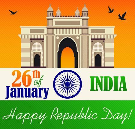 Ilustração em vetor de celebração do dia da República. 26 de janeiro.