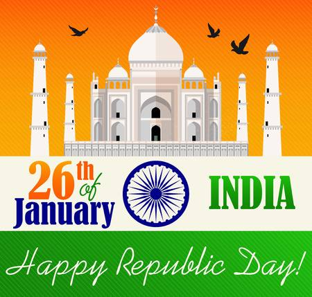 Vector illustration of Republic Day Celebration. 26th of January. Ilustrace