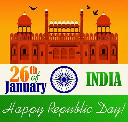 Vector illustration of Republic Day Celebration. 26th of January. Vettoriali