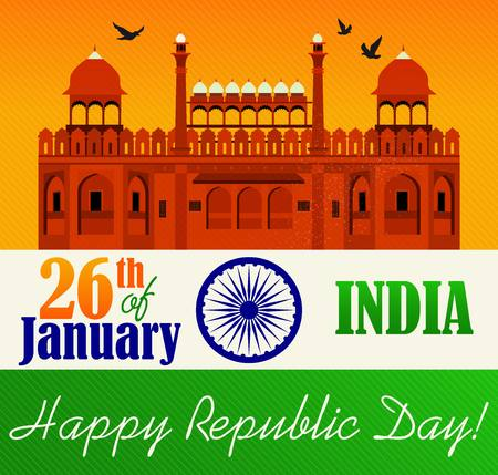 Vector illustration of Republic Day Celebration. 26th of January. Stock Illustratie