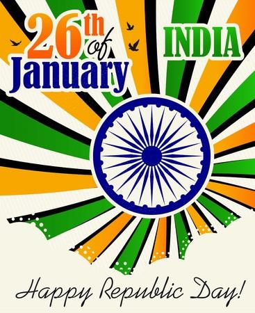 Vector illustration of Republic Day Celebration. 26th of January. Illustration