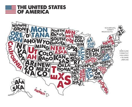 Poster map of United States of America with state names. Çizim