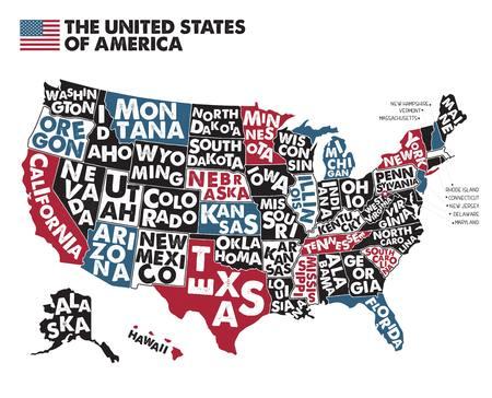 Plakatowa mapa Stanów Zjednoczonych z nazwami państw. Ilustracje wektorowe