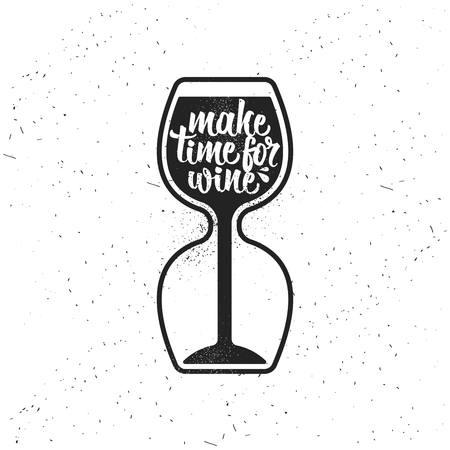 Hand getrokken typografie poster. Maak tijd voor wijn. Stock Illustratie