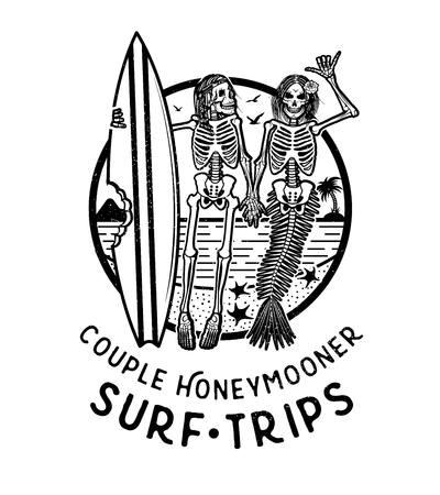 スケルトンサーファーと人魚とベクトルロゴイラスト。ウェブデザインや印刷のためのヴィンテージサーフィンエンブレム。