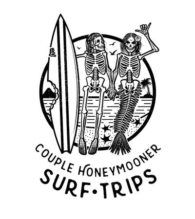 Vector Logo Illustration with Skeleton Surfer and Mermaid. Vintage Surfing Emblem for web design or print.