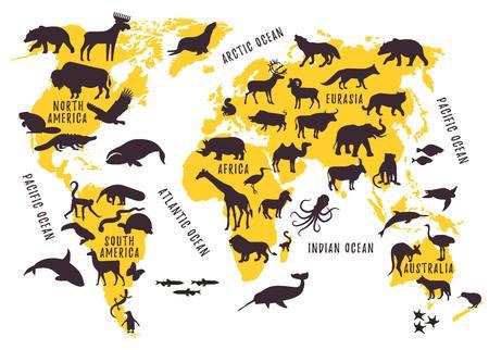 子供のための動物のシルエットと漫画の世界地図。ベクトルイラストレーション。