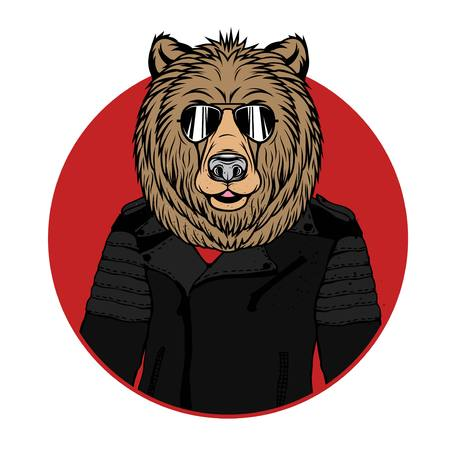 Vector Illustration of Bear Portrait in sunglasses and leather jacket, retro style, hipster look.