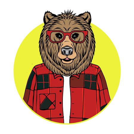 Vector Illustration of Bear Portrait in sunglasses and shirt, retro style, hipster look.