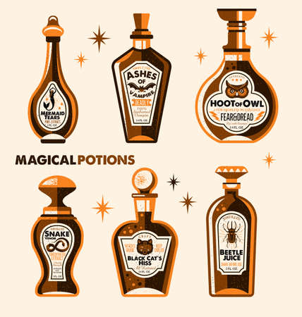 Halloween Bottle Labels Potion Labels. Vector Illustration. Фото со стока - 94833174