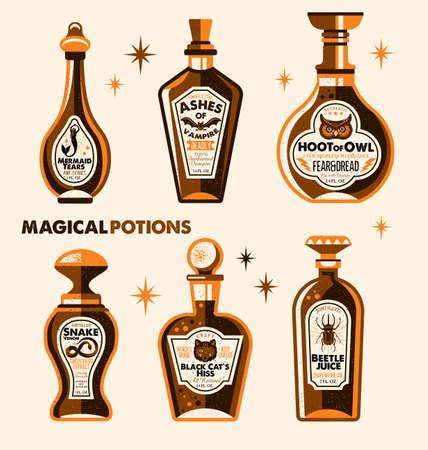 Rótulos de garrafa de Halloween rótulos de poção. Ilustração vetorial. Foto de archivo - 94833174
