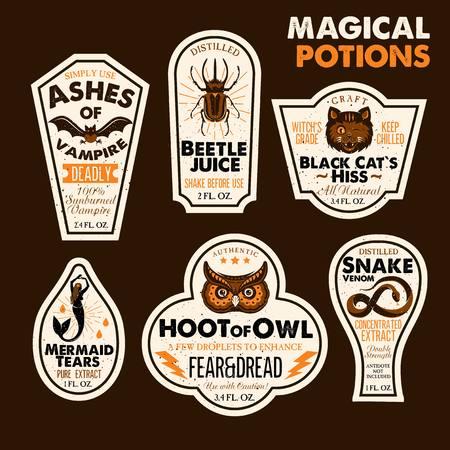Halloween Bottle Labels Potion Labels. Vector Illustration. 版權商用圖片 - 94979684