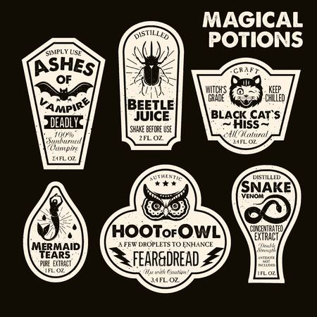 Halloween Bottle Labels Potion Labels. Vector Illustration. Фото со стока - 94979682
