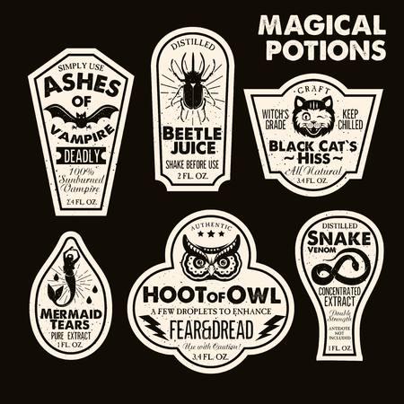 Halloween Flasche Etiketten Trank Etiketten . Vektor-Illustration Standard-Bild - 94979682