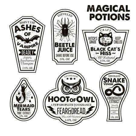 Halloween Bottle Labels Potion Labels. Vector Illustration. 版權商用圖片 - 94833415