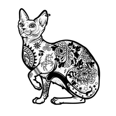 Vintage Cat Tattoo Design.
