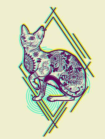 Vintage Cat Tattoo Design.
