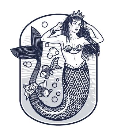 クラウンと人魚の女の子。孤立したベクトルの図。  イラスト・ベクター素材