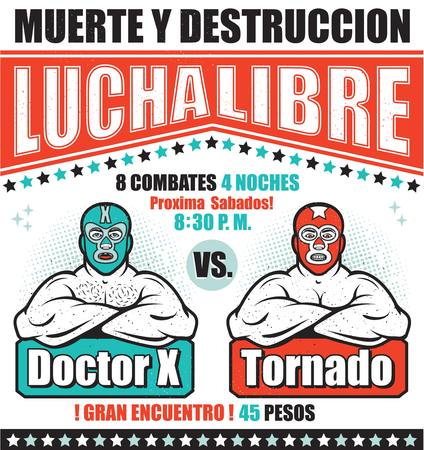 Vintage Lucha Libre Ticket with two wrestlers .