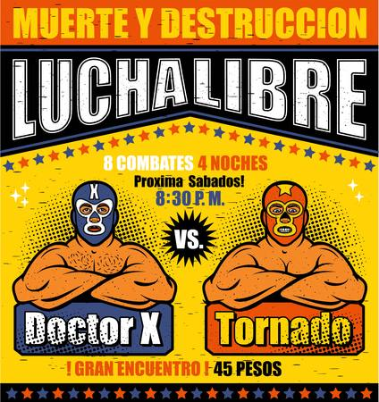 Vintage Lucha Libre Ticket. Lucha Libre Hero. Vector illustration
