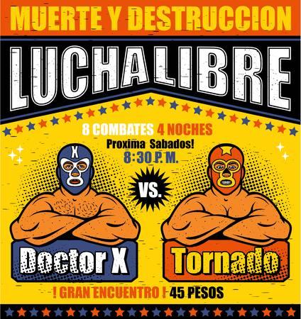 Vintage Lucha Libre-ticket. Lucha Libre Hero. Vector illustratie