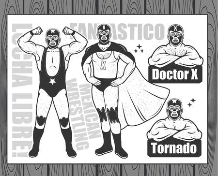Vintage Lucha Libre Ticket with characters doctor x and tornado. Vector illustration.