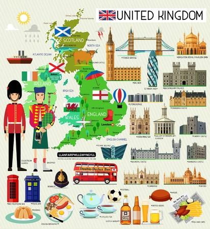 Carte du Royaume-Uni et des icônes de voyage. Carte de voyage du Royaume-Uni. Modèle de voyage sans soudure du Royaume-Uni. Illustration vectorielle. Vecteurs
