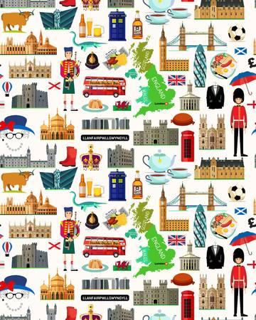 Mapa de Reino Unido e iconos de viaje. Mapa de viaje de Reino Unido. Modelo inconsútil del viaje de Reino Unido. Ilustración del vector.