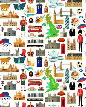 Mapa Wielkiej Brytanii i ikony podróży. Mapa podróży w Wielkiej Brytanii. Jednolite wzór podróży z Wielkiej Brytanii. Ilustracja wektorowa