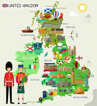Map of United Kingdom and Travel Icons.United Kingdom Travel Map. Seamless Travel pattern of United Kingdom.Vector Illustration.