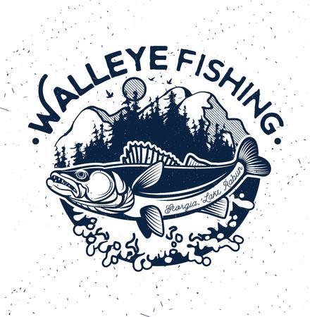 Vintage Walleye Fishing Emblem and Label. Vector Illustration