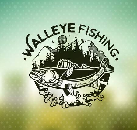 Vintage Walleye Fishing Emblems and Labels. Vector Illustration Çizim