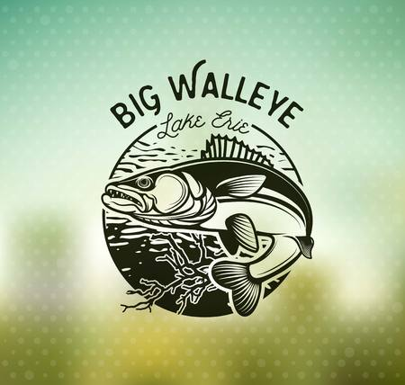 Vintage Walleye Fishing Emblems and Labels. Vector Illustration Vectores