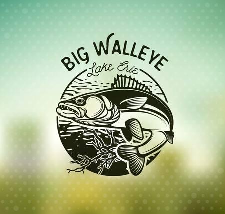 Vintage Walleye Fishing Emblems and Labels. Vector Illustration  イラスト・ベクター素材