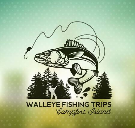 Vintage Walleye Fishing Emblems and Labels. Vector Illustration  イラスト・ベクター素材