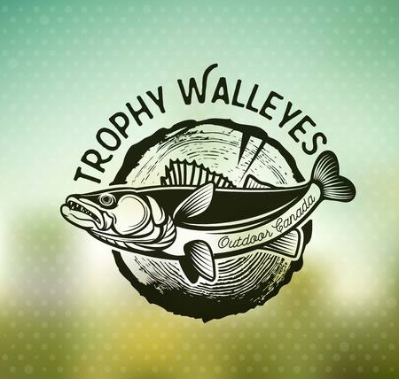 Vintage Walleye Fishing Emblems and Labels. Vector Illustration Çizim