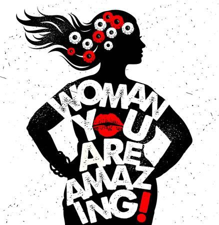 Poster di tipografia disegnati a mano. Donna, sei incredibile