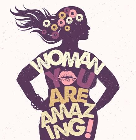 Hand getrokken typografie poster. Vrouw, je bent geweldig