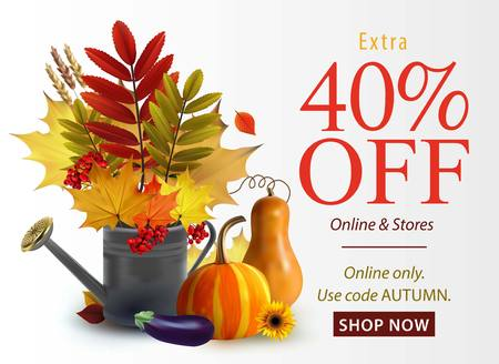 Vector fall sale poster illustration with colorful leafs for web. Иллюстрация