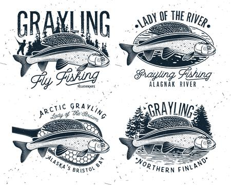 Grayling Fly Fishing Logo. The Lady of the River Arctic Grayling. Lady of the stream. 版權商用圖片 - 121822876