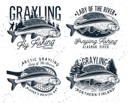 Logo de pêche à la mouche de l'ombre. La Dame de la rivière L'ombre arctique. Dame du ruisseau.
