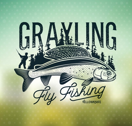 Grayling Fly Fishing Logo. The Lady of the River Stok Fotoğraf - 105779242