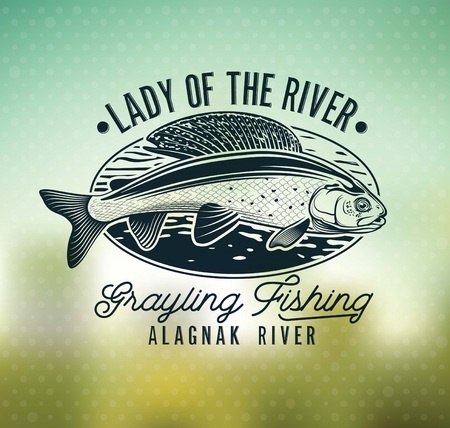 Grayling Fly Fishing Logo. The Lady of the River Stok Fotoğraf - 105779244